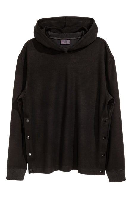 Hooded top with press-studs