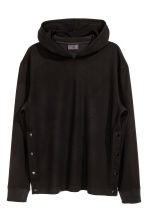 Hooded top with press-studs - Black - Men | H&M 2