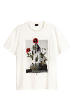T-shirt with embroidery - White/Floral - Men | H&M 2