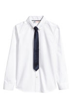 Shirt with tie/bow tie - White -  | H&M 2