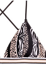 Triangle bikini top - Black/Beige/Patterned - Ladies | H&M CN 3