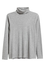 Ribbed polo-neck top - Grey marl - Ladies | H&M 2