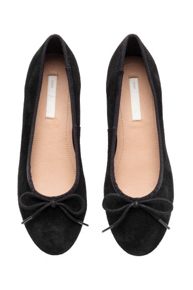 Suede ballet pumps - Black - Kids | H&M CN 1