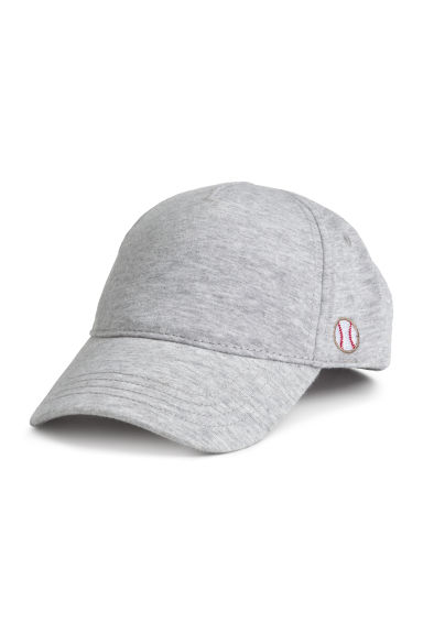 Cotton cap with embroidery - Grey marl -  | H&M 1