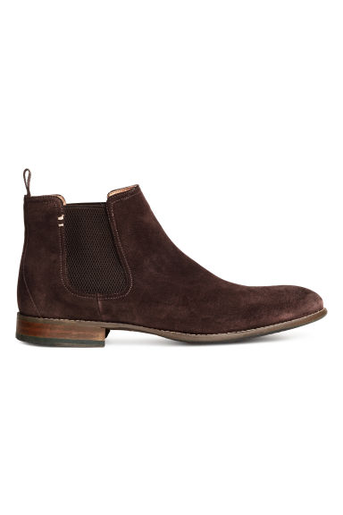 Suede Chelsea boots - Dark brown - Men | H&M
