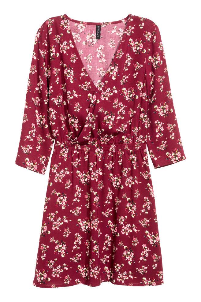 V-neck dress - Burgundy/Floral - Ladies | H&M GB
