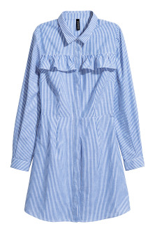 Shirt dress with a frill