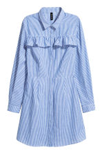 Shirt dress with a frill - White/Striped - Ladies | H&M CN 2