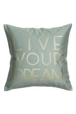 Text-print cushion cover - Dusky green - Home All | H&M CN 1