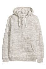 Knitted hooded jumper - Light grey marl - Men | H&M CN 2