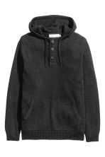 Knitted hooded jumper - Black marl - Men | H&M 2