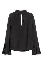 Blouse with trumpet sleeves - Black - Ladies | H&M CN 2