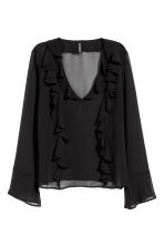 Frilled blouse - Black - Ladies | H&M CA 2