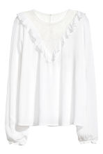 Blouse with a lace yoke - White - Ladies | H&M 2