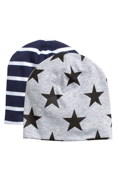 2-pack jersey hats - Dark blue/Striped -  | H&M CN 1