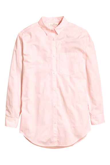 Wide cotton shirt - Light pink - Ladies | H&M CN