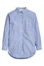Wide cotton shirt - Blue/White/Striped - Ladies | H&M GB
