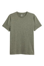 T-shirt girocollo Slim fit - Verde kaki mélange - UOMO | H&M IT 2