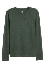 Long-sleeved T-shirt Slim fit - Dark green marl - Men | H&M CN 2