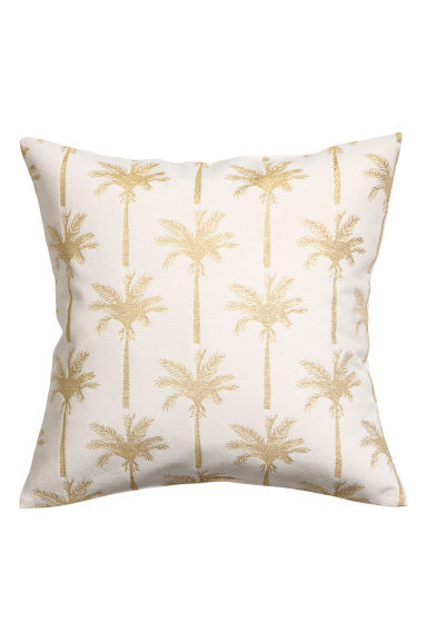 Jacquard-pattern cushion cover - White/Palms - Home All | H&M CN 1
