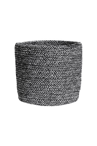 Small cotton storage basket - Black marl - Home All | H&M CN 1