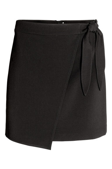 Wrap skirt with tie detail - Black -  | H&M