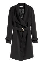 Coat with draped lapels - Black - Ladies | H&M GB 2