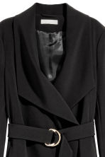 Coat with draped lapels - Black - Ladies | H&M GB 3