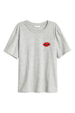 T-shirt with a motif - Light grey marl/Lips - Ladies | H&M CN 2