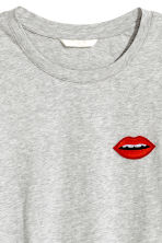 T-shirt with a motif - Light grey marl/Lips - Ladies | H&M CN 3