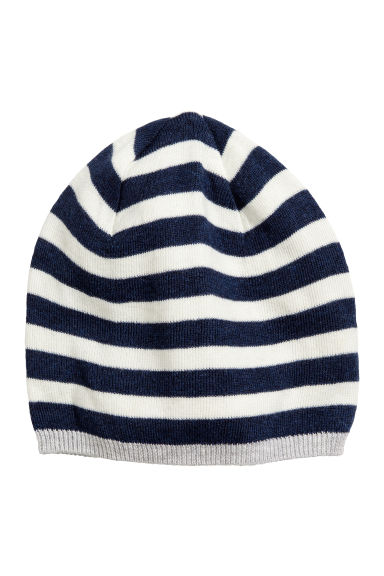 Cotton-blend hat - Dark blue/Striped - Kids | H&M CN 1