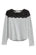 Top with a lace yoke - Grey marl -  | H&M 2
