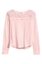 Top with a lace yoke - Light pink -  | H&M 2