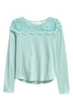 Top with a lace yoke - Mint green -  | H&M 2