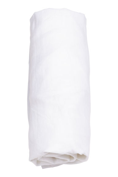 Washed linen fitted sheet - White - Home All | H&M IE 1