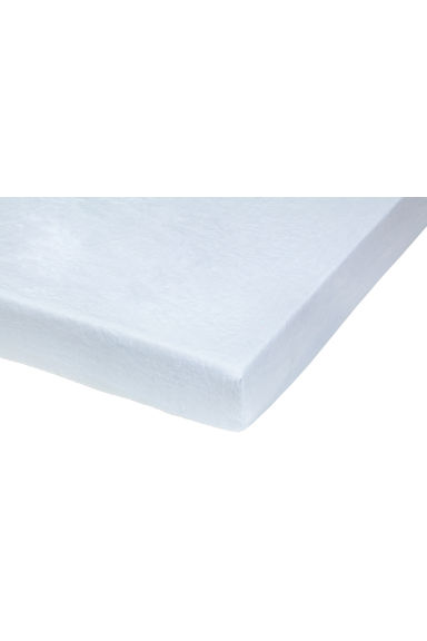 Washed linen fitted sheet - Light blue - Home All | H&M CN 1
