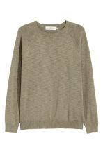 Fine-knit jumper - Khaki green marl - Men | H&M CN 2
