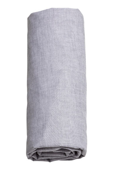 Cotton chambray fitted sheet - Grey - Home All | H&M CN 1