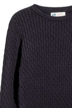 Cable-knit cotton jumper - Dark blue - Kids | H&M CN 3