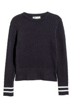 Cable-knit cotton jumper - Dark blue - Kids | H&M CN 2