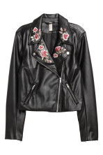 Embroidered biker jacket - Black - Ladies | H&M GB 2