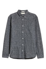 Linen-blend shirt Regular fit - Dark grey marl - Men | H&M 2
