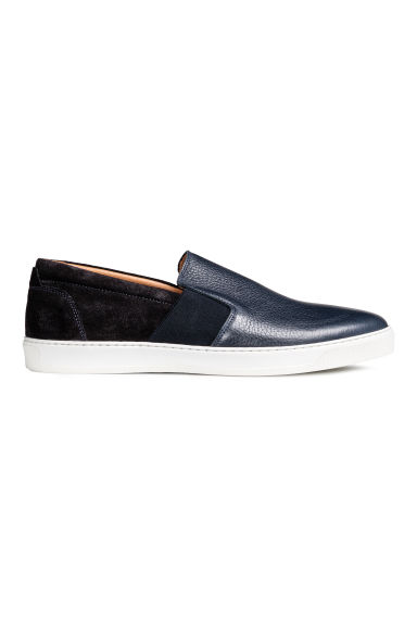 Sneakers slip-on in pelle - Blu scuro - UOMO | H&M IT