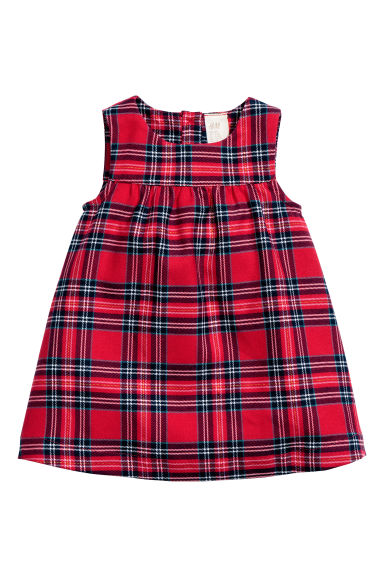 Patterned dress - Red/Checked - Kids | H&M CN