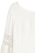 Crinkled top with lace - White -  | H&M 3