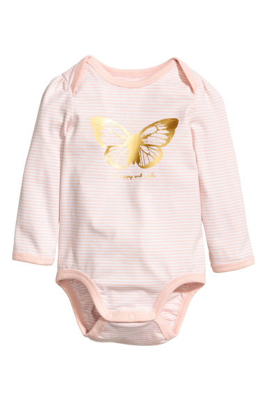 Long-sleeved bodysuit - Powder pink/Striped -  | H&M CN 1