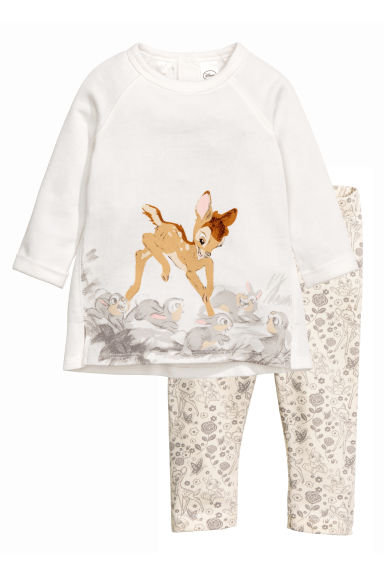 Sweatshirt and leggings - White/Bambi - Kids | H&M CN 1
