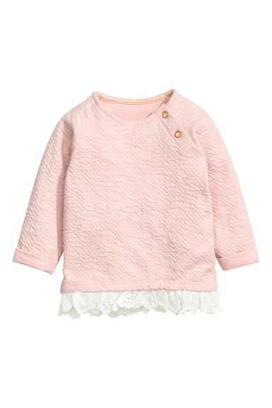 Textured sweatshirt - Powder pink - Kids | H&M CN 1
