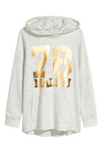 Long hooded top - Light grey marl - Kids | H&M 2