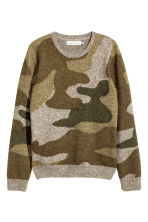 Fine-knit jumper - Khaki/Patterned - Men | H&M CN 2